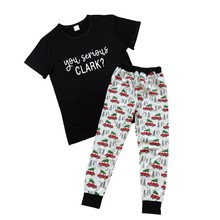 Casual You Serious Clark T-shirt 2 pcs Set Family Kids For Women New Fashion Summer Short Sleeve Female Femme Top Tee Drop Ship(China)