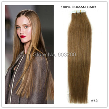 Skin Weft Brazilian Tape in Colored Hair Extensions Straight 100%Human Hair #12 24inch 20pcs /70g 19Colors Available