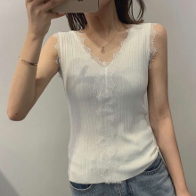 2019 Summer Tops Fashion New Knitted Tank Top Women Lace Lacework Patchwork Sleeveless Woman Clothes Camiseta Tirantes Mujer