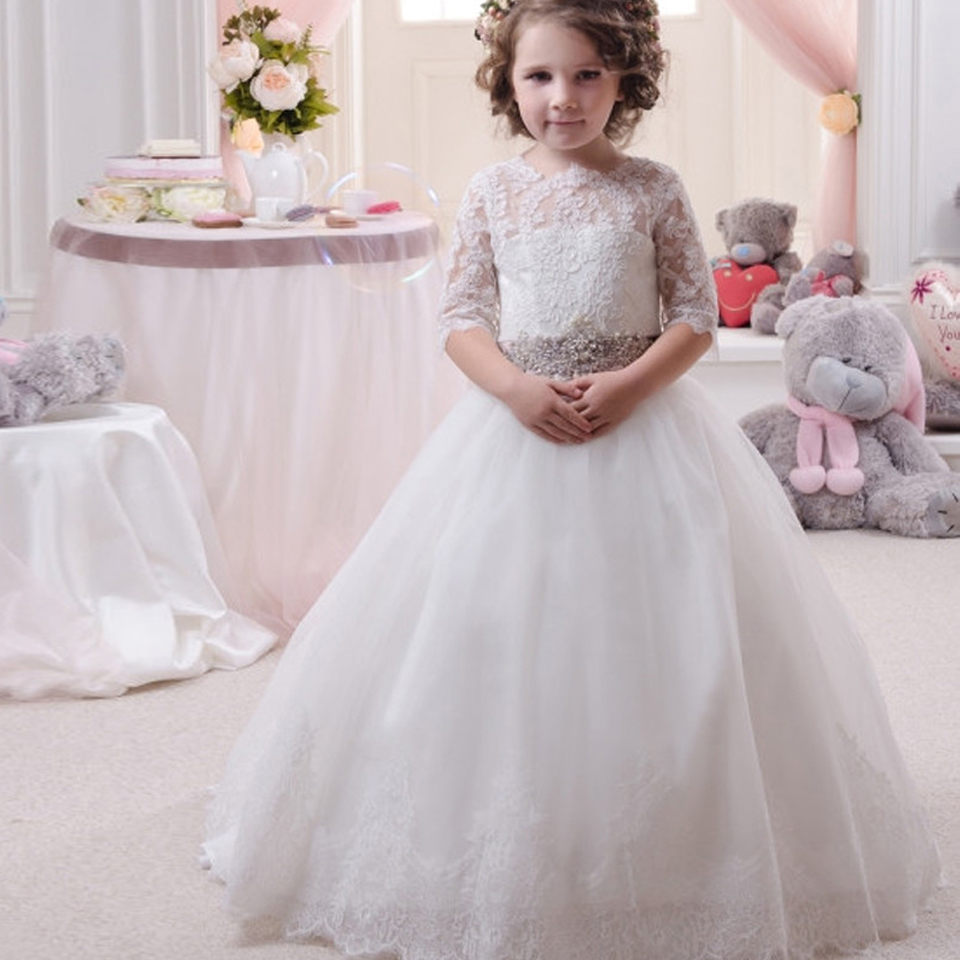 Aliexpress Buy Flower Girl Dress White Half Sleeves O Neck