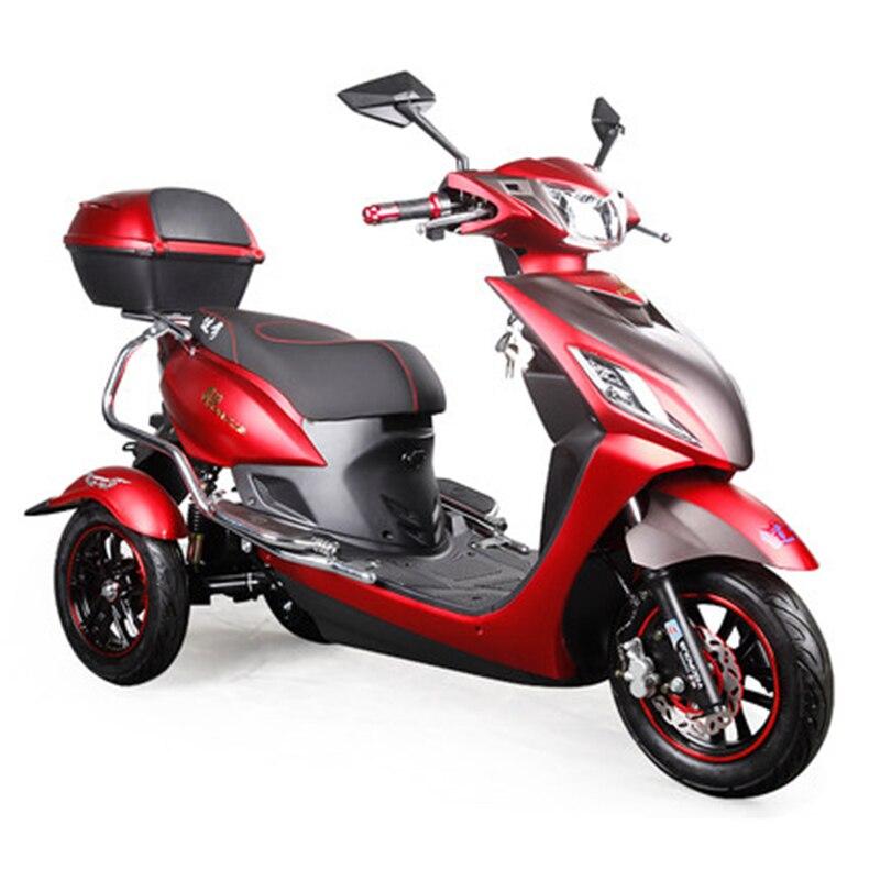 Электрический скутер, литиевый аккумулятор для трицикла, эффективный, 29 км/ч, красный и черный, для мотоцикла, удобный, для взрослых, для людей с ограниченными возможностями