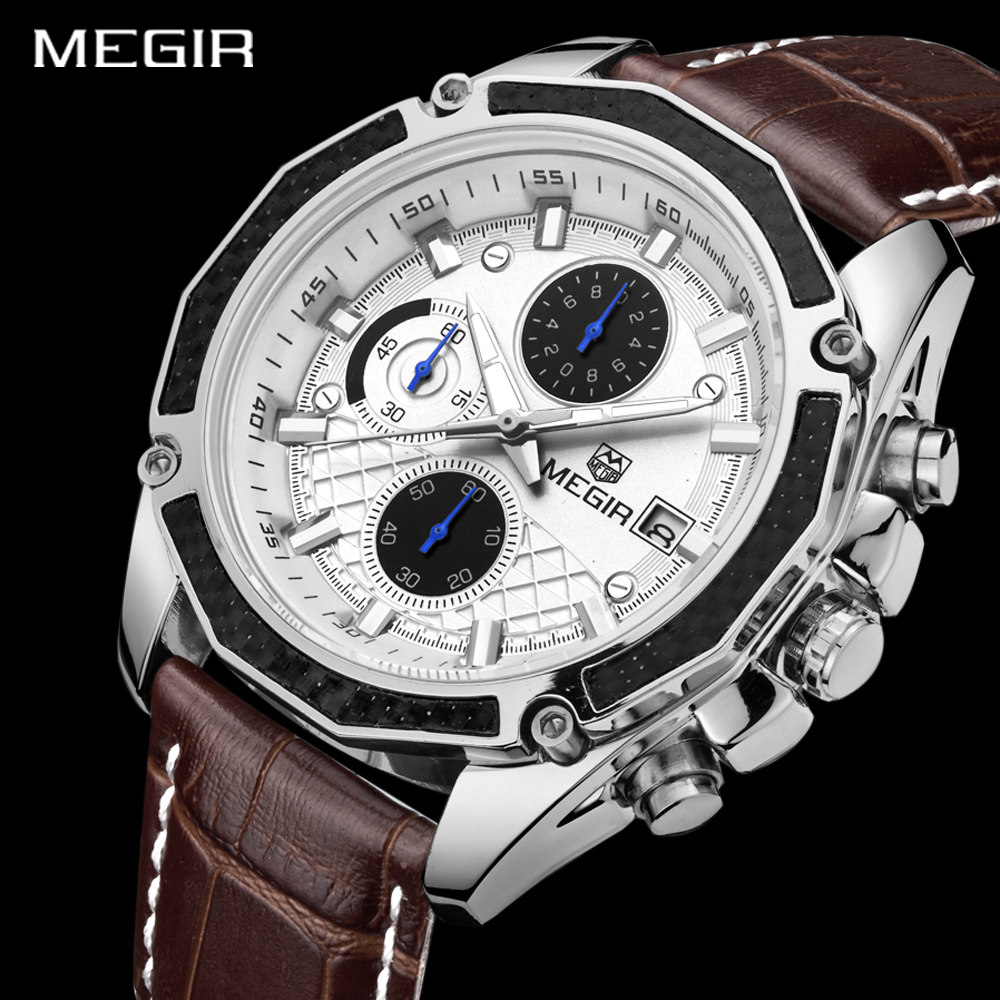 MEGIR Quartz Genuine Leather Racing Men Chronograph