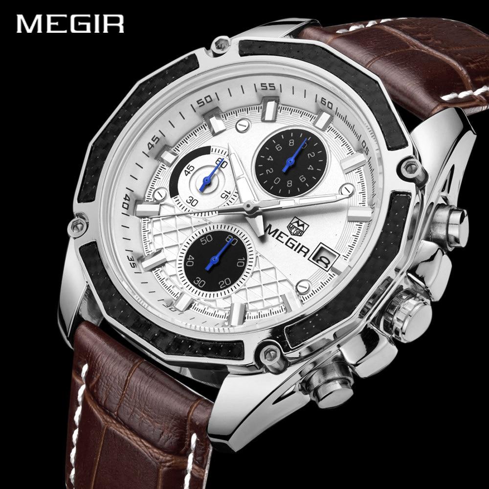 Authentische MEGIR Quarz männliche Uhren Echtes Leder Uhren Racing - Herrenuhren