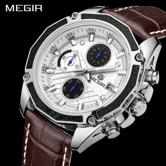 Genuine MEGIR quartz male watches Genuine Leather watches racing men Students ga
