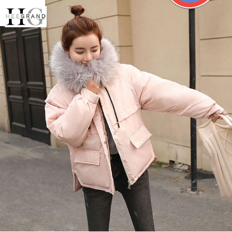 HEE GRAND Winter Autumn Jackets Women Fur Collar   Parkas   Elegant Hooded Thick Cotton Coats Short Loose Windproof Outwears WWM1675