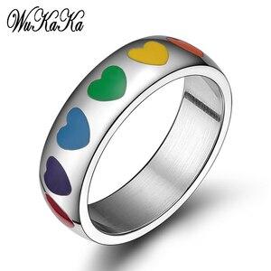Кольцо с изображением ЛГБТ-радуги в форме сердца для геев, кольцо для пары из нержавеющей стали, гомосексуальные кольца из титана для мужчин...