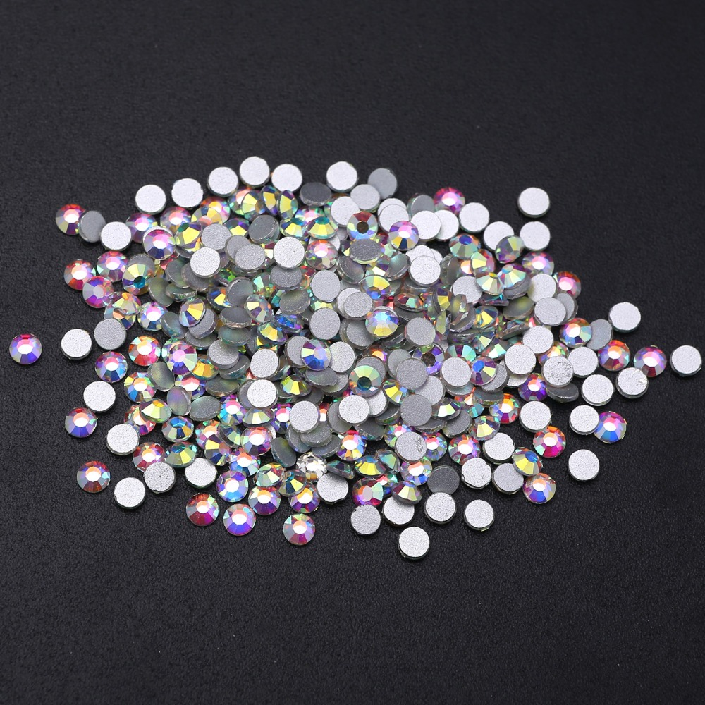 Sale SS3 SS50 Flatback Rhinestones White Clear Crystal AB color Strass Non HotFix Flat Back Stones 3D Nail Art Decorations DIY in Rhinestones from Home Garden