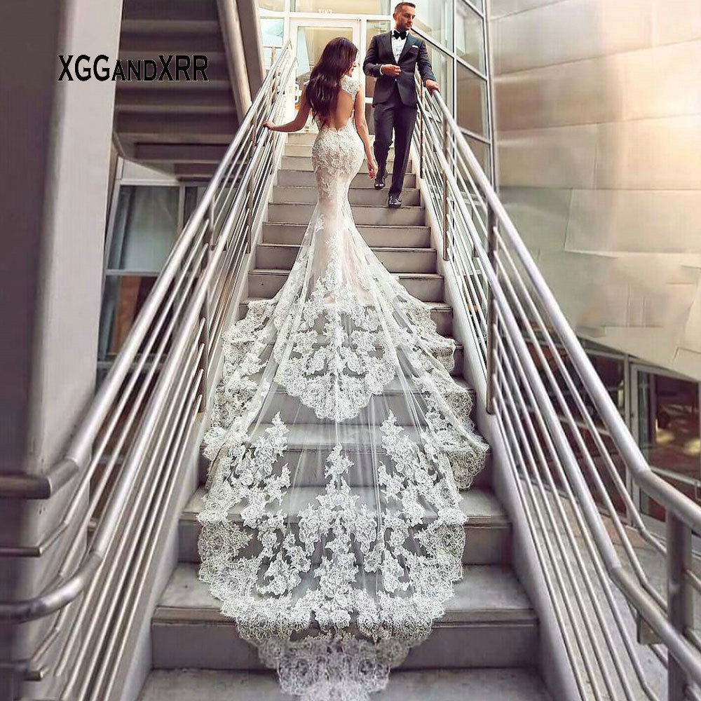 Luxury Lace Mermaid Wedding Dress 2019 Sweetheart Cap Sleeves Backless White Dress Cathedral Train Gelinlik Vestido De Noiva-in Wedding Dresses from Weddings & Events
