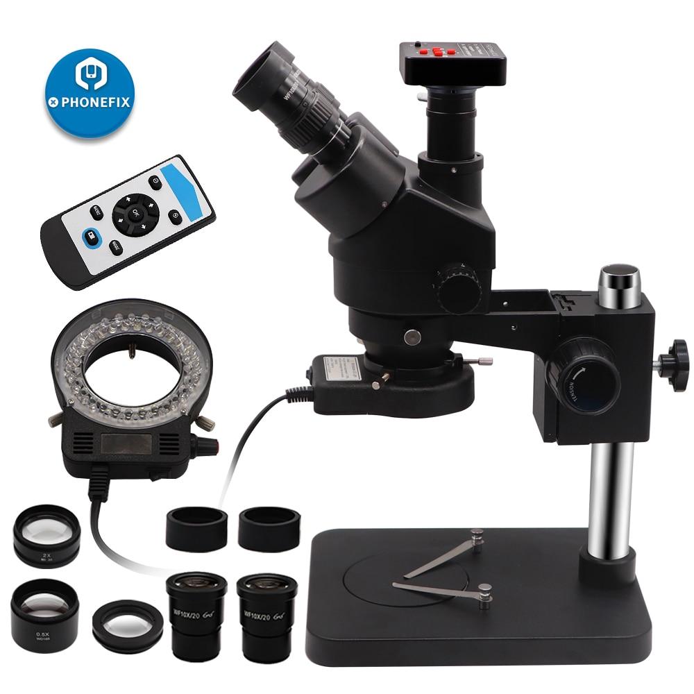 unique black 3.5X-90X Simul Focal Trinocular Stereo Zoom Microscope With 14MP 16MP 21MP HDMI Camera Soldering Repair tool