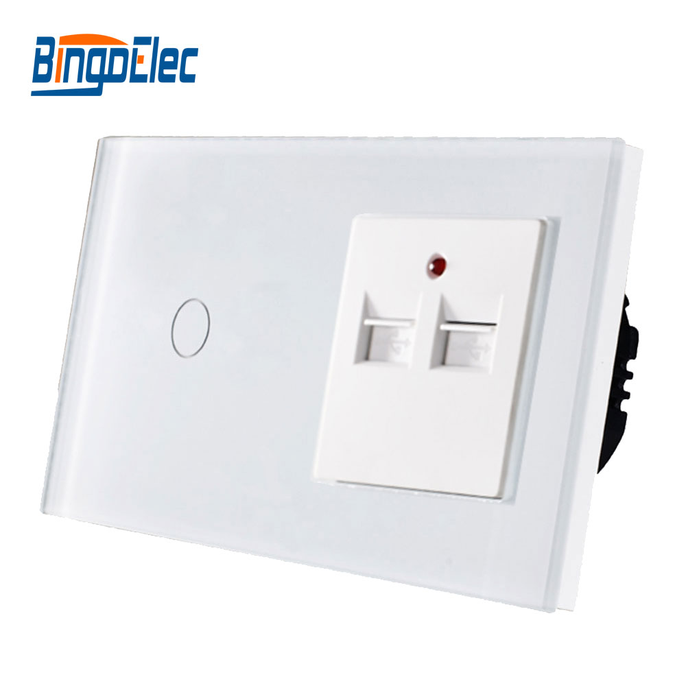 цена на Hot Sale,CE certification Eu1gang 1way Touch switch with 3.1A 3100MA USB Wall Charging socket ,Crystal Toughened Glass panel