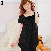 2Pcs Womens Nightdress Casual Sleepwear Shirts + Shorts Pants Bowknot Pajama