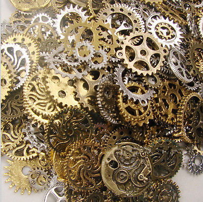 Vintage Metal Steampunk Charms Diy Fashion Accessories Clock & Gear Pendant Charms For Jewelry Making 32 Pieces/lot
