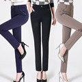 Plus Size 27-34 Mulheres Calças 2016 Nova Moda Primavera Outono Senhoras Lazer Calças Calças Retas de Cintura Alta Elasticidade C538