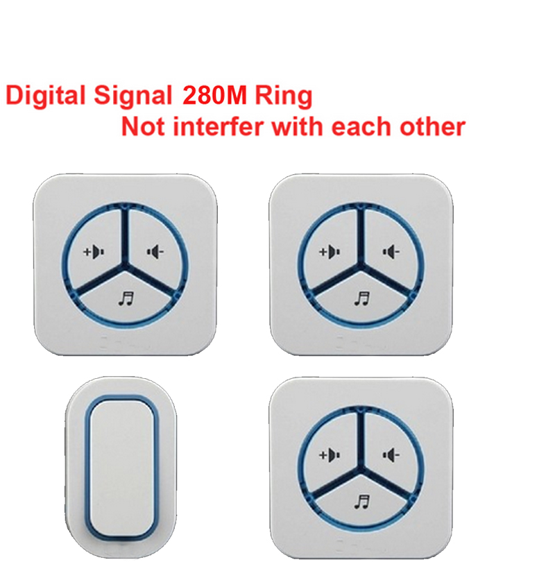 bell kits 1 emitter+3 receivers Waterproof 280m work wireless doorbell,wireless door chime,wireless bell, 48 melodies door bell