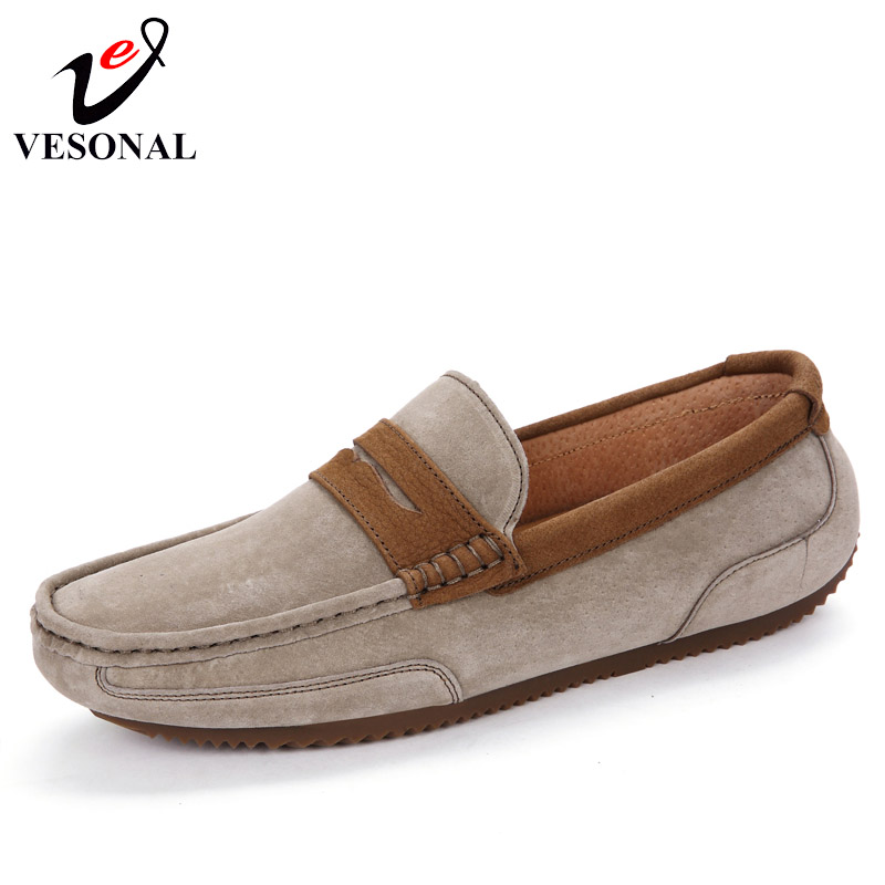VESONAL Brand Spring Summer Light Soft Moccasins For Men Loafers Shoes Male Flats Fashion Casual Cow Suede Driving Boat Footwear vesonal 2017 quality mocassin male brand genuine leather casual shoes men loafers breathable ons soft walking boat man footwear