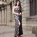 2017 RUIYIGE Women Trumpet Party Lace Dress Robe Patchwork High Split One Shoulder Strapless Sexy Long Dresses