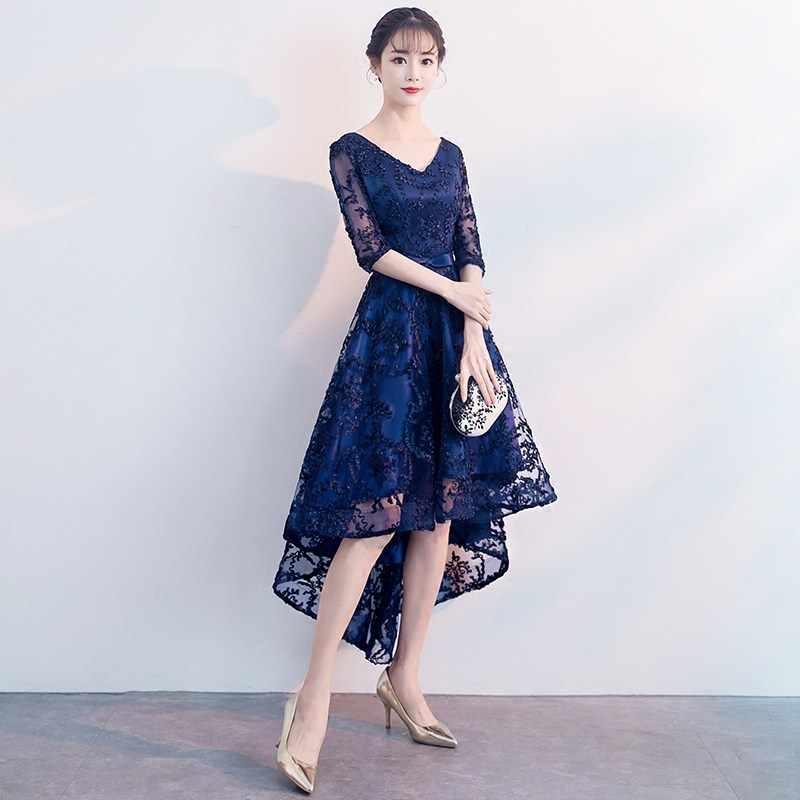 Lacivert Dantel Oryantal Tarzı Ziyafet Elbiseler Çin Vintage Düğün Cheongsam Zarif Akşam Partisi Törenlerinde Artı Boyutu XS-XXXL