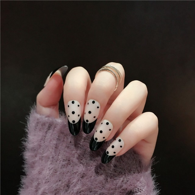 Online Shop Long French Style False Nails Black Polka Dot Decoration ...