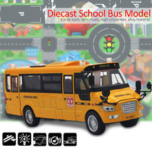 Diecast Alloy School Bus Model 5 Openable Doors / Music / Light / Pull Back Function Toy Car for boy and girl gift children kids(China)