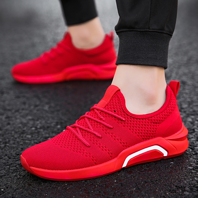 Men Comfortable Chaussures High Fashion Breathable Shoes Spring Shoes Men  Soft Casual Sneakers Red Vogue Hommes ... e716699d9c6f