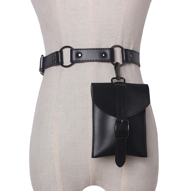 NEW Fashion Tide All-match Spring New Fashion Matel Ring Split Joint Black Color Mini-bag PU Leather Long Belts Women Accessorie