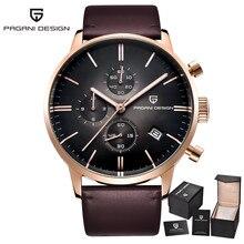 Fashion Chronograph Sport Men's Watches Diving 30 m Genuine Leather Quartz Watch Luxury Brand PAGANI DESIGN Relogio Masculino