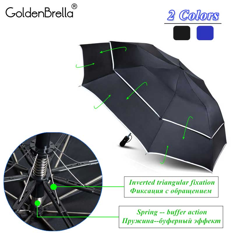 Double Layer Large <font><b>Umbrella</b></font> Rain Women 2Folding Quality <font><b>Windproof</b></font> <font><b>Golf</b></font> <font><b>Umbrella</b></font> Men Business Outdoor Travel Parasol image
