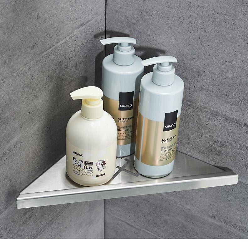 Poinçon gratuit 304 acier inoxydable salle de bain étagère simple 2 couche coin cadre salle de bain triangle panier cuisine stockage rack noir