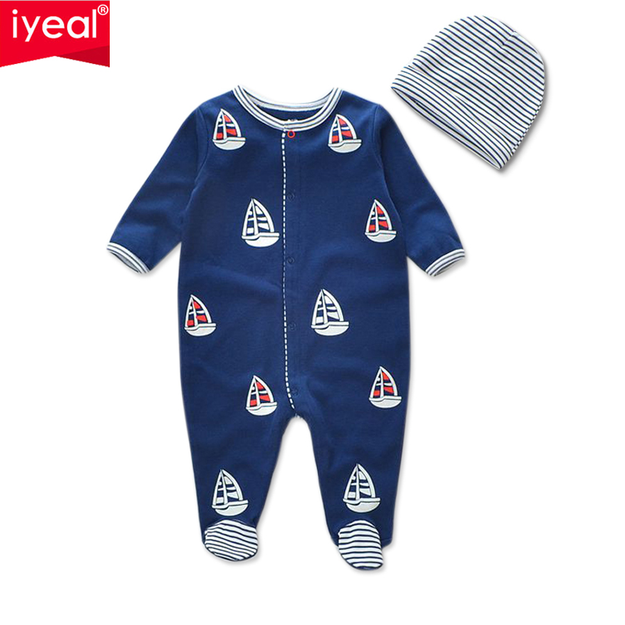 IYEAL 2017 Fashion Spring Baby Boy Girl Romper with Hat 100% Cotton Newborn Jumpsuit Long Sleeve Kids Infant Baby Clothes 0-12M newborn cute toddler floral baby girl rompers infant cotton long sleeve kids jumpsuit overall romper hat children clothes sets