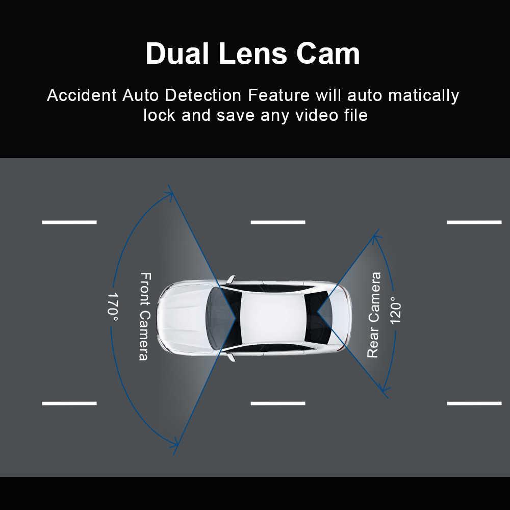 """داش كام المزدوج عدسة Dvrs جهاز تسجيل فيديو رقمي للسيارات T681 FHD 1080P 4 """"شاشة تعمل باللمس النسخ الاحتياطي مسجل فيديو للرؤية الخلفية ليلة الإصدار"""