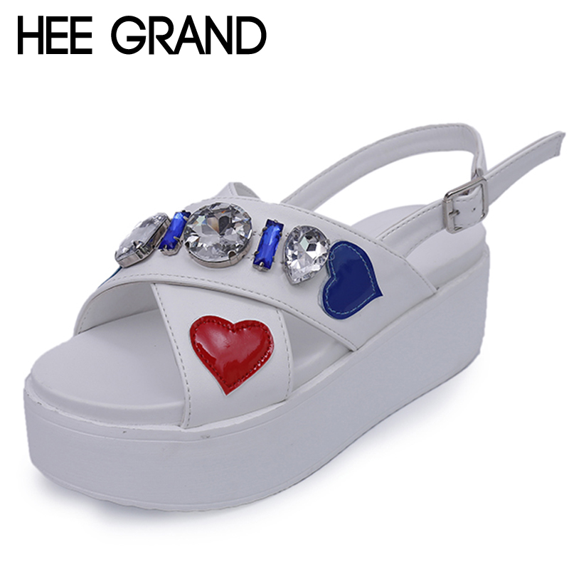 HEE GRAND Crystal Gladiator Sandals 2017 New Creepers Platform Flats Summer Casual Sweet Buckle Shoes Woman Size 35-39 XWZ4243 hee grand lace up gladiator sandals 2017 summer platform flats shoes woman casual creepers fashion beach women shoes xwz4085