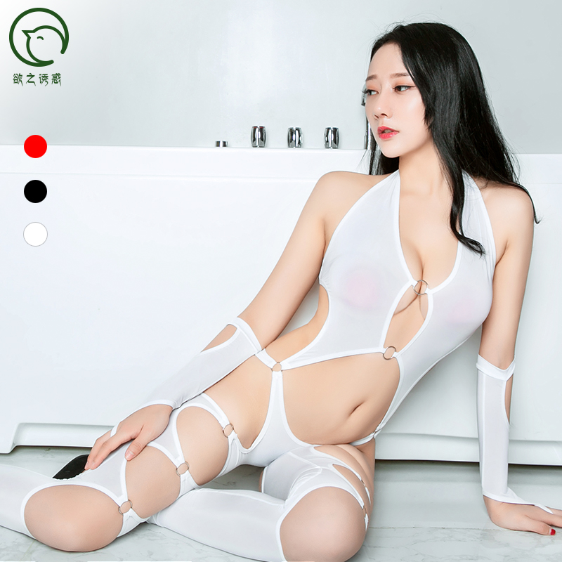 High Elastic Oil Glossy Hollow Out Bodystocking Sexy Hot Erotic Bodysuit Pole Dance Transparent Porno Lingerie One Piece Teddies