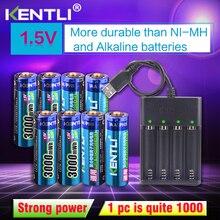 KENTLI 8 шт. 1,5 в 3000mWh AA перезаряжаемый литий-полимерный литий-ионный полимерный литиевый аккумулятор + 4 слоты USB smart charger