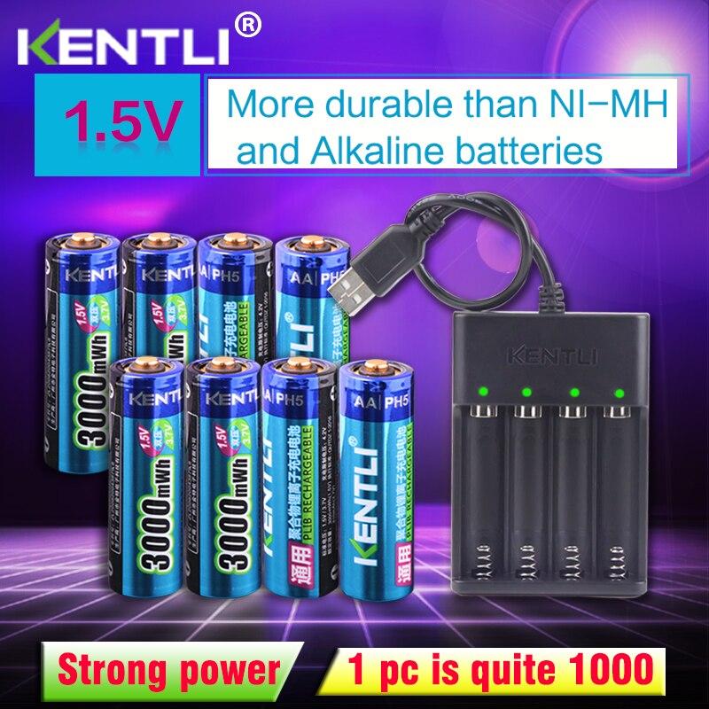 KENTLI 8 pièces 1.5 v 3000mWh AA rechargeable Li-polymère li-ion batterie lithium-polymère + 4 slots USB chargeur intelligent