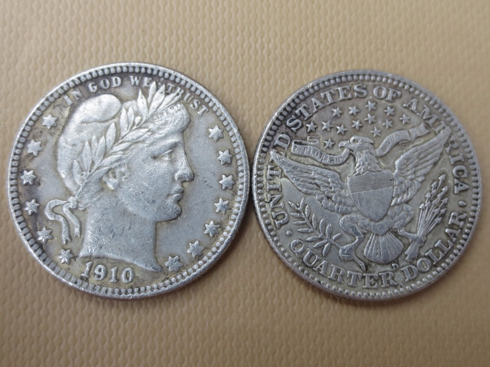 90% серебра или посеребренные США монеты 1910-d Barber КВАРТАЛА ДОЛЛАРОВ Розничная/оптовая продажа США Копировать монеты