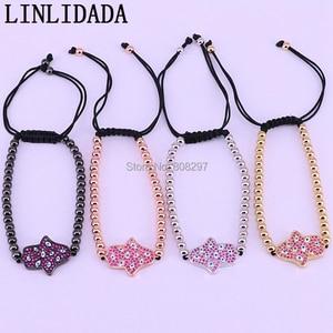 Image 5 - New 10Pcs Fashion Jewelry Pave Setting Crystal CZ Hand Connector & 4mm Round Bead Braiding Men Women Macrame Bracelet