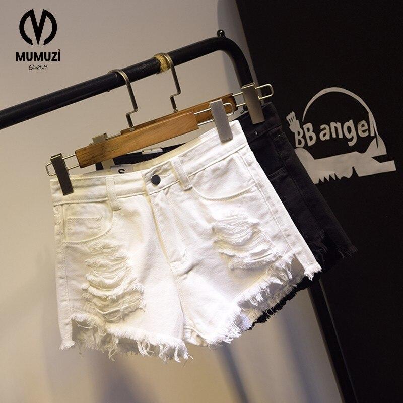 Ripped frayed Edge denim shorts women high waist short jeans feminino pockets black white shorts jeans 2018 summer short femme