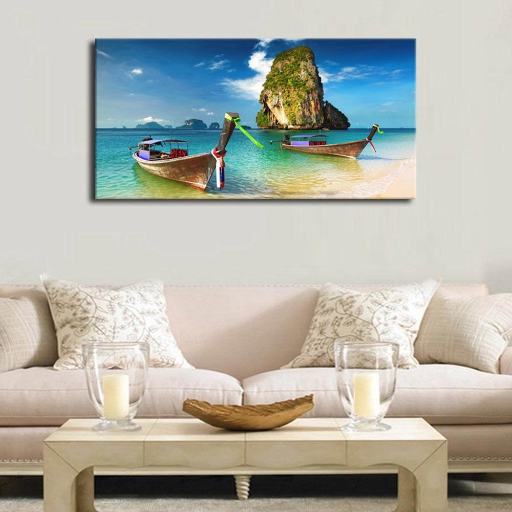 Beachy Living Room Big On Wall Decor: Large Canvas Wall Art Beach Boat Wall Decor Phuket Island