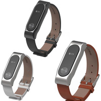 New Xiaomi Mi Band 2 Leather Strap Belt With Screen Protective Metal Wristband For Mi Band