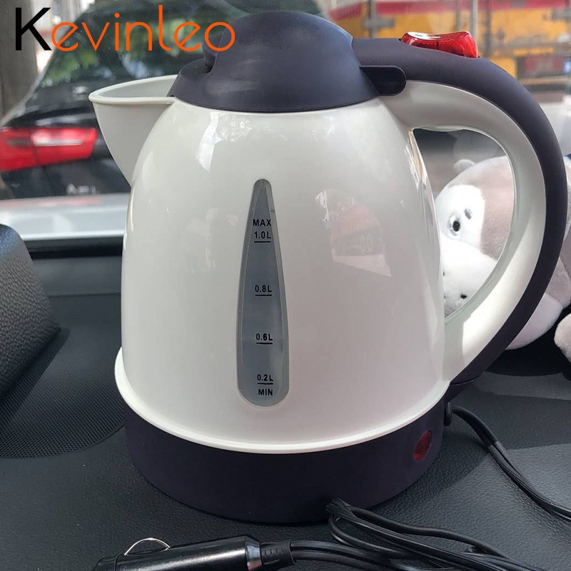 Electric Kettle Car 12V/24V 1L 150W 304 Stainless Steel Large Capacity Portable Water Heater Travel Kettle Electric