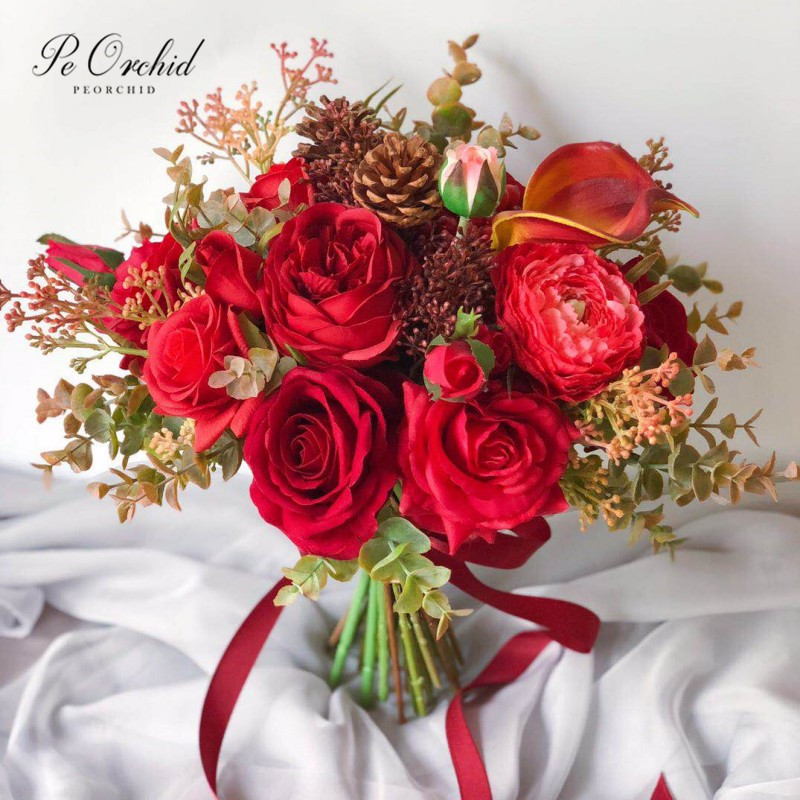 PEORCHID Rustic Red Rose Bouquet Bridal Flower Pine Cone Peony Artificial Wedding Bouquets Holding Bouquet New 2019