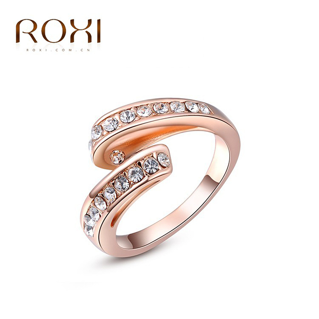 ROXI Brand Ring For Women Rose Gold Color Inlaid Zircon Open Rings Fashion Jewelry For Graduation Vacation Gift