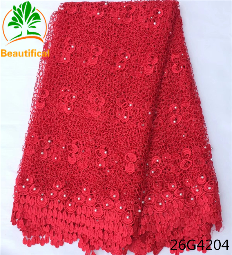 Beautifical african cord lace fabric chemical lace embroidery fabric guipure lace fabric red color for wedding adress 26G42