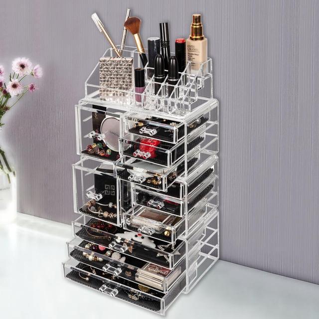 Akrilik Kozmetik Kulesi Makyaj organizatör tutucu Kılıf Kutusu Takı depolama çekmecesi Sadece gemi ABD