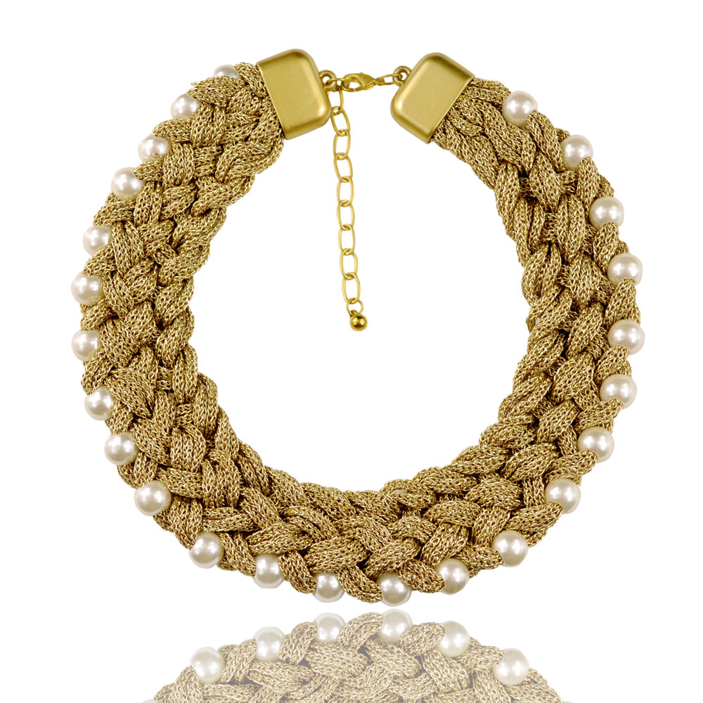 2017 New Arrival Women Costume Necklace 18 Inch Gold Thread Woven Thick  Chain Simulated Pearl Necklace