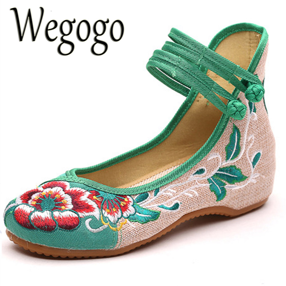 2017 Hot Sale Women's Shoes Old Peking Shoes Flat Heel With Embroidery Soft Sole Casual Shoes Dancing Shoes Plus Size 41 peacock embroidery women shoes old peking mary jane flat heel denim flats soft sole women dance casual shoes height increase