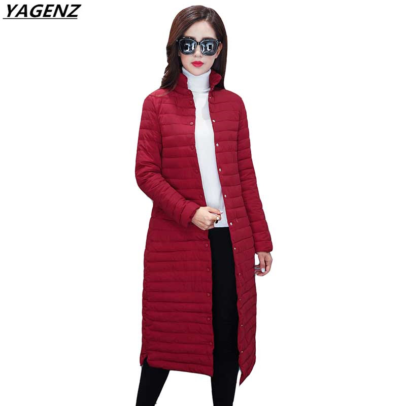 Winter Womens Jackets 2017 New Single breasted Thin Down Jacket Coat Casual Slim Plus Size 4XL