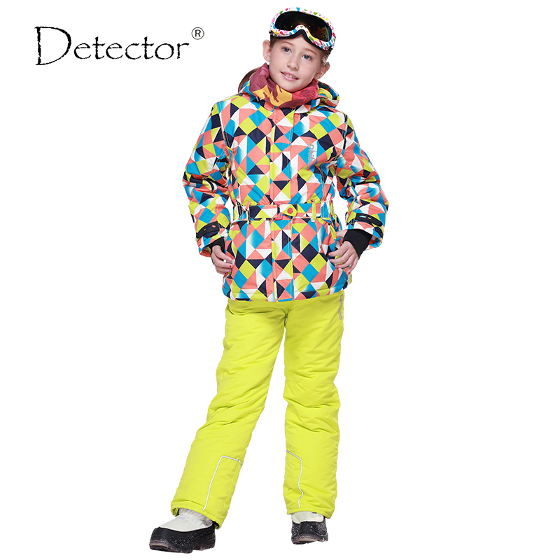 ФОТО 2016 Winter Girls Ski Sets Windproof Hooded Jackets Pants 2 Pieces Tracksuits for Children Waterproof Sports Kids Clothing Sets