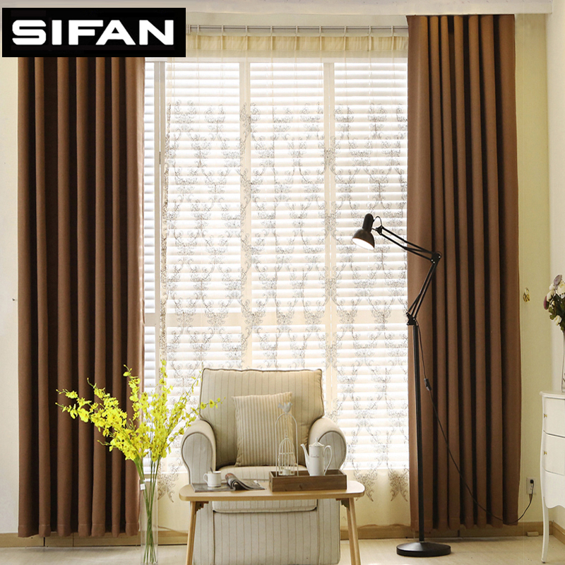 Solid Color Faux Linen Blackout Curtains For Living Room Modern Curtains For Bedroom Window