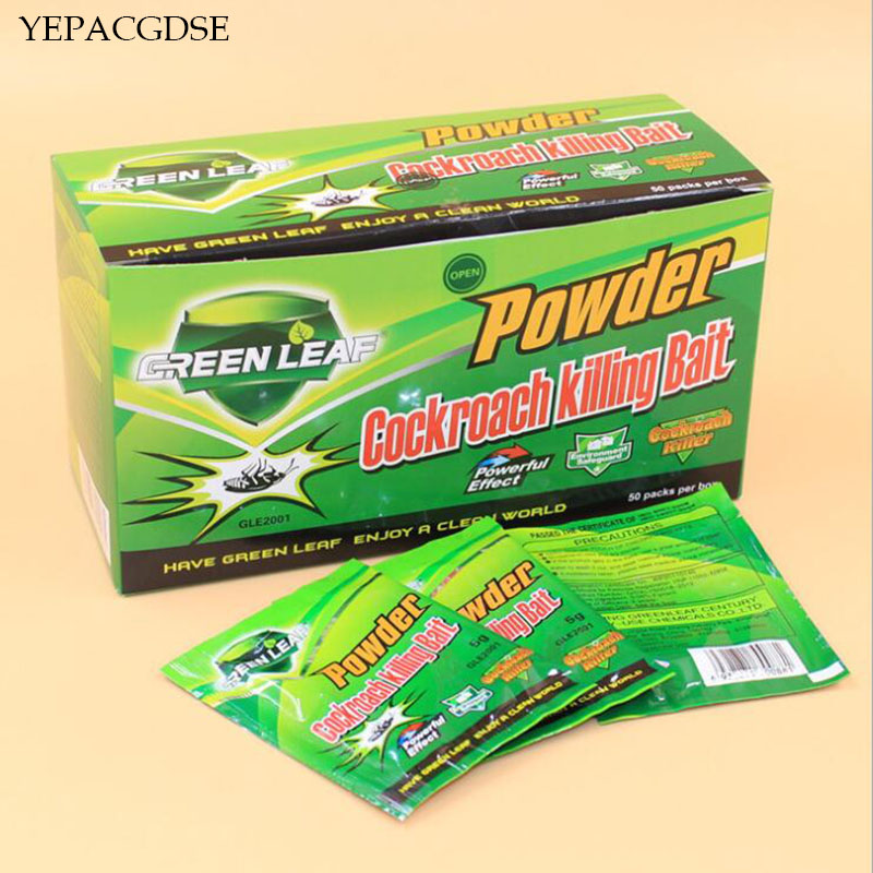 50 Packs/box Of Green Leaf Powder Killing Insecticide Insect Repellent Russian Cockroach Killer Repeller Trapping Pests